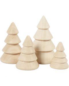 Weihnachtsbäume aus Holz, H: 3,3+4,3+5,3+6,3 cm, D: 2,3+3+3,2+4 cm, 4 Stck./ 1 Pck.