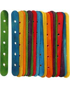Holzflachstäbe mit Lochung, L: 15 cm, B: 1,8 cm, Lochgröße 4 mm, Sortierte Farben, 20 sort./ 1 Pck.