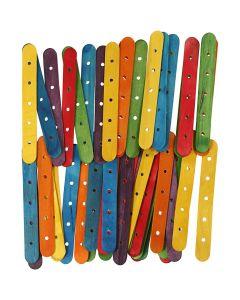 Holzflachstäbe mit Lochung, L: 15 cm, B: 1,8 cm, Lochgröße 4 mm, Sortierte Farben, 500 sort./ 1 Pck.