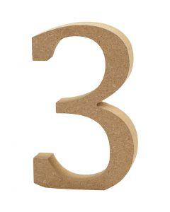 Zahl, 3, H: 8 cm, Stärke: 1,5 cm, 1 Stck.