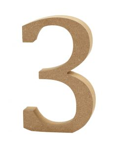 Zahl, 3, H: 8 cm, Dicke 1,5 cm, 1 Stck.