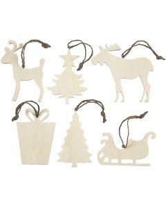 Weihnachtsaufhänger, Größe 7-9 cm, Dicke 4 mm, 6 Stck./ 1 Pck.