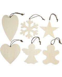 Weihnachtsaufhänger, Größe 9-11 cm, Dicke 4 mm, 6 Stck./ 1 Pck.