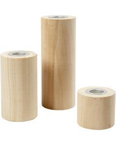 Kerzenhalter , H: 14,5+9+6,5 cm, Lochgröße 2,3 cm, 3 Stck./ 1 Pck.