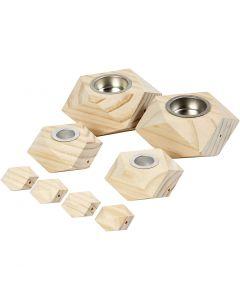 Kerzenhalter, H: 3,4+5 cm, D: 6,2+9 cm, Lochgröße 2,2+4,2 cm, 1 Set