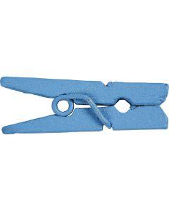 Mini Wäscheklammern, L: 25 mm, B: 3 mm, Blau, 36 Stck./ 1 Pck.