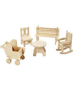 Mini-Möbel - Sortiment, Gartentisch, Kinderwagen, Stuhl, Schaukelstuhl, Bank, H: 5,8-10,5 cm, 50 Stck./ 1 Pck.