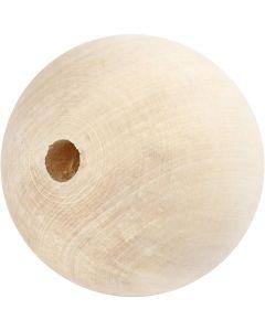 Holzperle, D: 80 mm, Lochgröße 12 mm, 1 Stck.