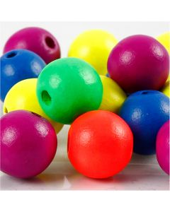 Perlen-Mix in Neonfarben, D: 16 mm, Lochgröße 3 mm, Neonmix, 16 g/ 1 Pck.