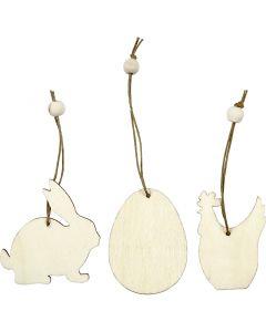 Holzornamente, Kaninchen, Ei, Huhn, Größe 6 cm, Stärke: 3 mm, 9 Stck./ 1 Pck.