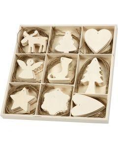Holzornamente, Weihnachten, Größe 7-8 cm, 72 Stck./ 1 Pck.