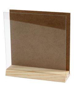 Halter mit Glasplatte, Größe 15x15 cm, 1 Set