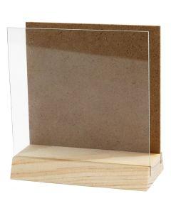 Halter mit Glasplatte, Größe 10x10 cm, 1 Set