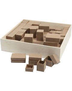 Mini-Holzkästen - Sortiment, H: 2,5-5 cm, 4x15 Stck./ 1 Pck.