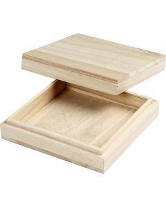 Holzkasten, H: 3 cm, Größe 10x10 cm, 1 Stck.