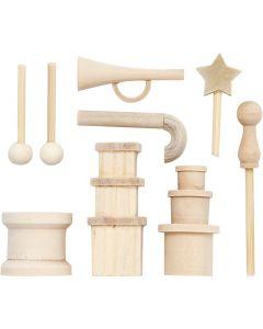 Kleine Gegenstände aus Holz, L: 2-5,5 cm, 1 Pck.