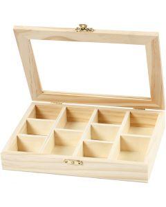 Kiste mit Glasdeckel, Größe 15,5x20,5x3,5 cm, 1 Stck.