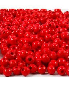 Holzperlen, D: 5 mm, Lochgröße 1,5 mm, Rot, 6 g/ 1 Pck., 150 Stck.