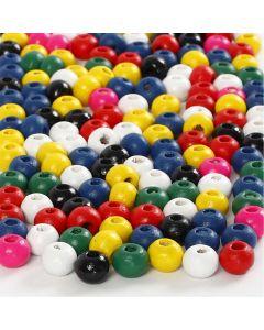 Holzperlen-Mix, D: 4 mm, Lochgröße 1,5 mm, Sortierte Farben, 6 g/ 1 Pck.