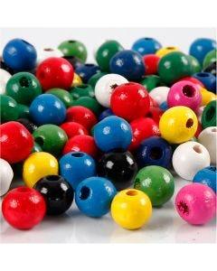 Holzperlen-Mix, D: 8 mm, Lochgröße 2 mm, Sortierte Farben, 200 g/ 1 Pck.
