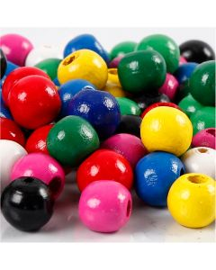 Holzperlen-Mix, D: 10 mm, Lochgröße 3 mm, Sortierte Farben, 230 g/ 1 Pck.