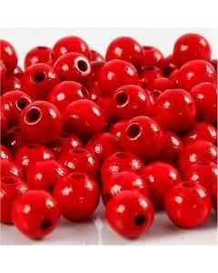Holzperlen, D: 8 mm, Lochgröße 2 mm, Rot, 15 g/ 1 Pck., 80 Stck.