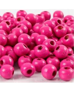 Holzperlen, D: 8 mm, Lochgröße 2 mm, Pink, 15 g/ 1 Pck., 80 Stck.