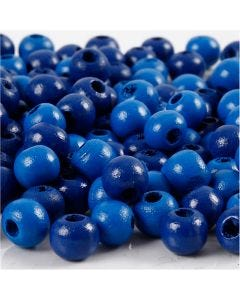 Holzperlen, D: 8 mm, Lochgröße 2 mm, Blau, 15 g/ 1 Pck., 80 Stck.
