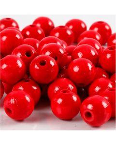 Holzperlen, D: 10 mm, Lochgröße 3 mm, Rot, 20 g/ 1 Pck., 70 Stck.