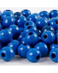 Holzperlen, D: 10 mm, Lochgröße 3 mm, Blau, 20 g/ 1 Pck., 70 Stck.