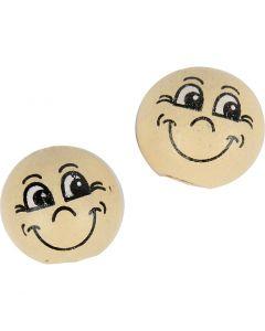 "Gesicht ""Smiley"", D: 12 mm, Hellbeige, 20 Stck./ 1 Pck."
