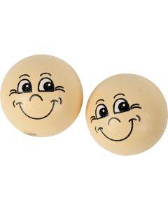 "Gesicht ""Smiley"", D: 22 mm, Hellbeige, 10 Stck./ 1 Pck."