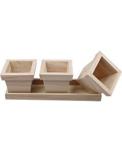Blumentopf-Set, aus Holz, Größe 27x9x9 cm, 1 Set