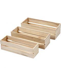 Holz Boxen, H: 6,5+7+7,5 cm, L: 22+23,5+25 cm, B: 7+8,5+10 cm, 3 Stck./ 1 Set