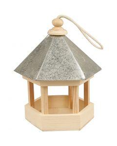Vogelfutterhaus mit Zinkdach, Größe 22x18x16,5 cm, 1 Stck.