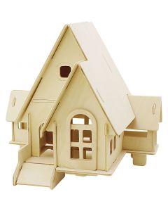 3D-Holzpuzzle, Haus mit Garage und Auffahrt, Größe 22,5x17,5x20,5 , 1 Stck.