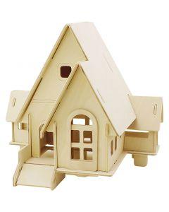 3D-Figuren zum Zusammensetzen, Haus mit Garage und Auffahrt, Größe 22,5x17,5x20,5 , 1 Stck.