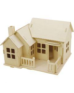 3D-Figuren zum Zusammensetzen, Haus mit Terrasse, Größe 19x17,5x15 , 1 Stck.
