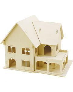 3D-Figuren zum Zusammensetzen, Haus mit Veranda, Größe 22,5x16x17,5 , 1 Stck.