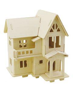 3D-Holzpuzzle, Haus mit Balkon, Größe 15,8x17,5x19,5 , 1 Stck.