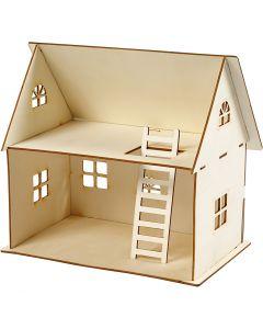 Puppenhaus zum Zusammenbauen, H: 25 cm, Größe 18x27 cm, 1 Stck.