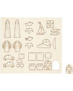Zusammensteckbare Holzfiguren, Alltagsgegenstände, L: 15,5 cm, B: 17 cm, 1 Pck.