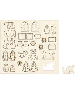 Zusammensteckbare Holzfiguren, Weihnachten, L: 15,5 cm, B: 17 cm, 1 Pck.