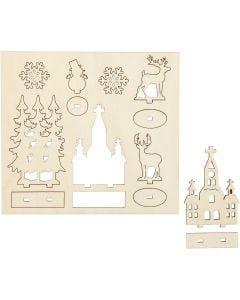 Zusammensteckbare Holzfiguren, Kirche, Weihnachtsbäume, Hirsche, L: 15,5 cm, B: 17 cm, 1 Pck.