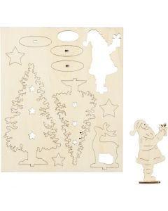 Zusammensteckbare Holzfiguren, Weihnachtsmann, Weihnachtsbäume, Hirsch, L: 20 cm, B: 17 cm, 1 Pck.