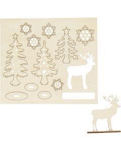 Zusammensteckbare Holzfiguren, Wald mit Hirschen, L: 15,5 cm, B: 17 cm, 1 Pck.