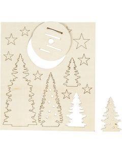 Zusammensteckbare Holzfiguren, Weihnachtsbäume, L: 20 cm, B: 17 cm, 1 Pck.
