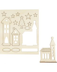 Zusammensteckbare Holzfiguren, Weihnachtliche Stadt, L: 20 cm, B: 17 cm, 1 Pck.