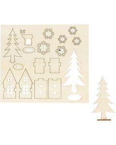 Zusammensteckbare Holzfiguren, Haus, Baum, Hirsch, L: 15,5 cm, B: 17 cm, 1 Pck.