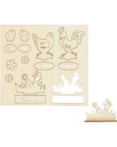Zusammensteckbare Holzfiguren, Hühner und Blumen, L: 15,5 cm, B: 17 cm, 1 Pck.